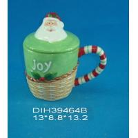 China Fashionable Xmas Custom Ceramic Mugs With Lid Personalised Santa Clause Cover on sale