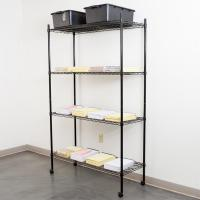 China Black Epoxy Office Book Rack Unit / Mobile Metal Storage Shelves on sale