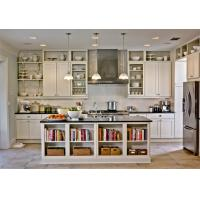 Best L Shape White Pvc Kitchen Cabinets With Island Bench / Open Shelf Integrated Style wholesale
