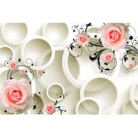 Quality Embossed Surface 3D Wall Decor Panels Pink Roses For Hotel TV Background Wall for sale