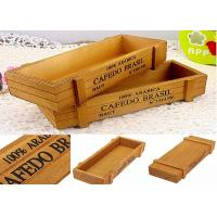 Quality Printing Color Wooden Crate Gift Box , Custom Wooden Packaging Box Without Lid Wood Tray for sale