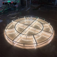 Quality Large Corporate Event Stage Retractable Acrylic Tempered Glass Lights Round Stage for sale