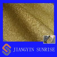 China Gold Shinning Leather Fabric For Shoes And Handbags, thickness 0.7mm on sale