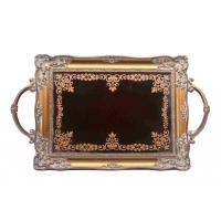 Quality Handcrafted Small Mirrored Vanity Tray With Branch Handle Scrolling Designs for sale