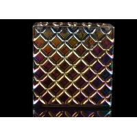 China Iridescent Plating Square Decorative Glass Candle Holder , Luxury Scented Glass Candle Jars on sale