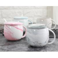 China Water Tea 12 Oz Ceramic Mugs Pink With Cover FDA CA Approved Customized Text on sale