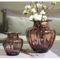 Quality Mouth Blown Decorative Glass Flower Vases / Hand Wash Three Size Pink Glass Vase for sale