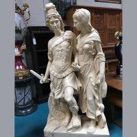 Quality Antique Roman Hero Sculpture Large Marble Statue of Alexander the Great with Lady for sale