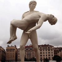 Quality Homosexual Theme Life Size True Love Of Gay Men Natural Marble Statue for sale