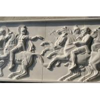 Quality White marble relief carved by hand/ War horse stone relief for sale