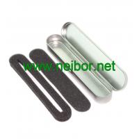 Buy cheap silver color oval long shape hinged lid metal tin pen box with foam from wholesalers