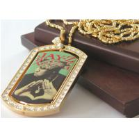 Quality Rhinestone Studded Dog Tags Necklace With Pad Printed Designs Or Photo Frame for sale