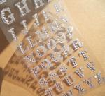 Quality silver glitter sticker Alphabet rhinestone sticker for phone case for sale