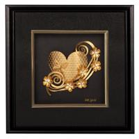 Quality 3D 24k gold leaf Fish frame , gold foil crafts home decoration for sale
