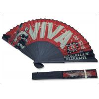 Quality 21cm red color cloth with black bamboo Las Vegas rock advertise  Fans for sale