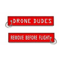 Best Drone Dudes Remove Before Flight Keychain Embroidery Customized OEM Fabric Keychains wholesale