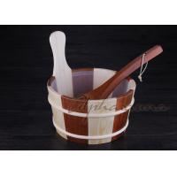 Best Baltic Leisure Wooden Sauna Bucket And Ladle Set , PE Plastic linner wholesale