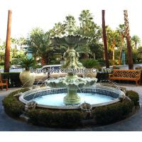 Quality Garden stone fountain with pool, outdoor green marble fountain , decorative fountain for sale