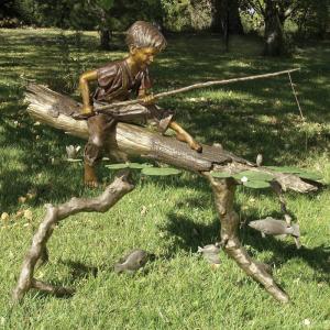 Quality Children Metal Sculpture Life Size Bronze Casting Fishing Boy Garden Statue for sale