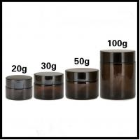 Quality Brown Cosmetic Cream Jar Recycle Glass Empty Type Flat Shoulder Bottle Shape for sale
