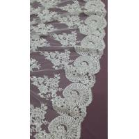 140cm Sequin Beaded Ivory Lace Fabric , White Embroidered Bridal Wedding Lace