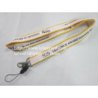 Cheap White and Yellow Color Silk Screen Lanyard With Cellphone Attachment for sale