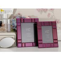 Quality 4*6 Purple Glass Mirror Photo Frame Simple Stylish Type Home Decoration for sale