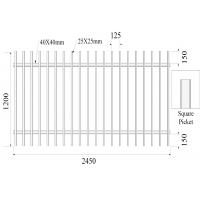 Quality Square picket 25mm x 25mm 2 rail 40mmx40mm x 1.5mm H1200mmXW2450mm Hercules Fence for sale