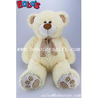 China Toy,Plush Toy,Plush Stuffed Toy Beige Teddy Bear with Check Design Scarf and Paw and ear on sale