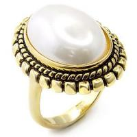 Quality Gemstone Jewelry Finger Ring with White Color Synthetic Pearl for sale