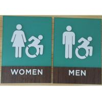 Quality Three Dimensional ADA Compliant Restroom Signage Wood Grain Laminate Clear Grade II Braille for sale