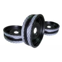 Quality 230x70 forklift pu coating wheels with ductile iron center for sale