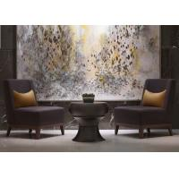 China Leisure Purple Fabric Modern Lobby Furniture , Lobby Wooden Easy Chair on sale