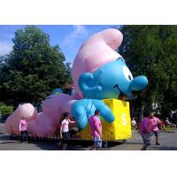 Quality Large Inflatable Cartoon Characters , Sewing Lovely Blue Inflatable Smurf for sale