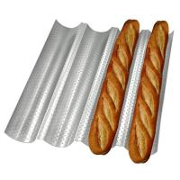 Quality Carbon Steel 4 Wave Gutter Non Stick French Bread Perforated Tray Baking Baguette Pan for sale
