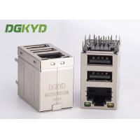 Quality Stacked RJ45 jack over dual deck USB Connector combo rj45 with 100Mb transformer for sale