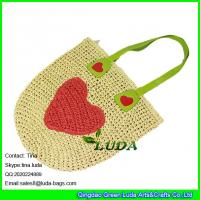 China LUDA 2016 new paper straw beach bag handmade crochet bag with heart on sale