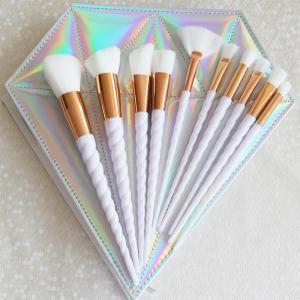 Buy cheap 10 pcs Unicorn Makeup Brush Kit, Cosmetic Brush Set, Diamond Shape Packing Bag from wholesalers