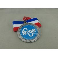 Best Copper Stamped Soft Enamel Ribbon Medals , Antique Silver Custom Medals For Awards wholesale