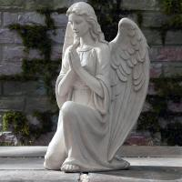 Quality Church Sculpture Life Size Natural Marble Stone Praying Lady Angel Garden Statue for sale