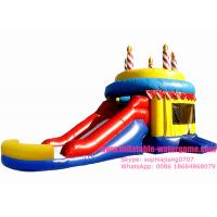 China Customized Celebration Inflatable Bouncy Castle Happy Birthday Cake Design on sale