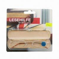 China Full Rim Mental Reading Glasses with Matching Case, Made of Monel or Stainless Steel on sale