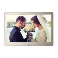 Quality Golden HD Digital Photo Frame With Remote Control / 12.3 Inch Led Digital Photo Album for sale