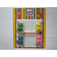 Quality 4pcs Mix Color Spiral Birthday Candles Add 4pcs Bear Shape Toy For Decoration / Play for sale