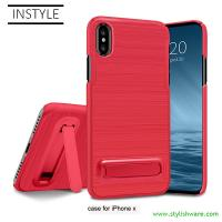 China 2 in 1 Plating Frame Plastic PC Hard Phone Case Kickstand for Apple iPhone X Cell Phones on sale
