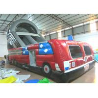 Buy Closed inflatable bus standard slide hot fire truck inflatable dry slide fire fighting truck inflatable slide at wholesale prices