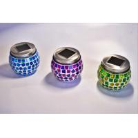 China Solar Powered Mosaic Lantern Candle Holders Flicker Effect Plastic / Glass Materials on sale