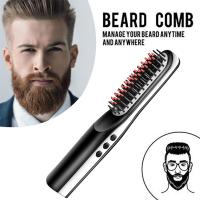 China Natural hair styles tools for men original mini ceramic electronic cordless straightening hair brush comb on sale