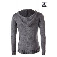 China Grey Wool Mens Knit Cardigan Sweater Hoodie Open Front Long Sleeve For Winter on sale