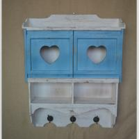 Wood iron art wall shelf with two drawers